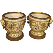 A Pair of Painted Porcelain Urns with Gilt Mounts-20th C.