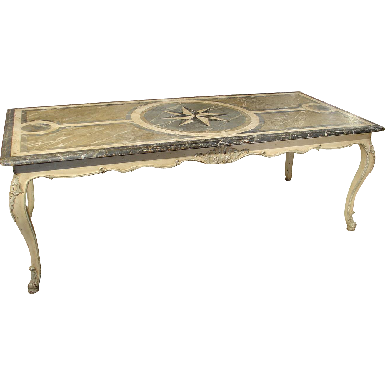 Antique French Painted Louis XV Style Dining Table