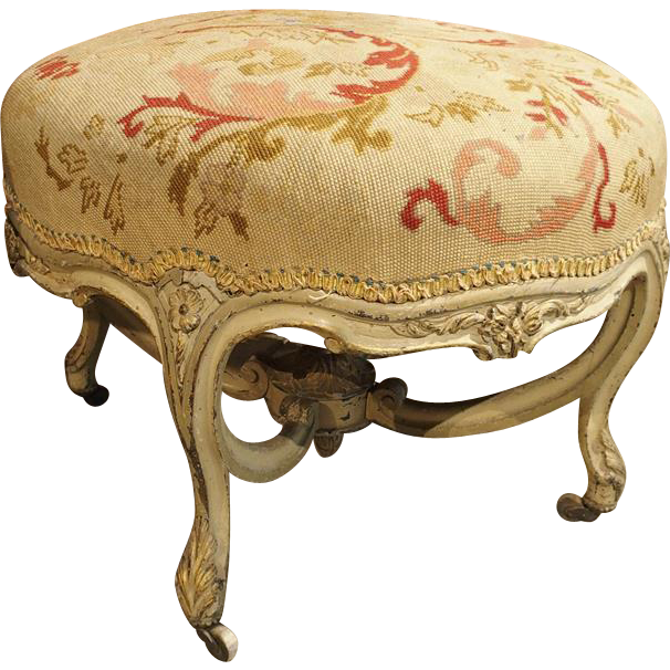 Antique Louis XV Style Needlepoint Stool from France
