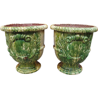 A Pair of Glazed French Anduze Pots