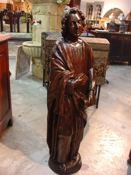 Antique Walnut Wood Religious Statue-St. John