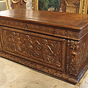 Large Antique Oak Renaissance Trunk from Normandy France