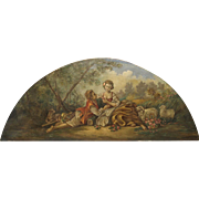19th Century Overdoor Painting from France-La Musette