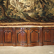Massive Marble Topped Walnut Wood Louis XV Style Chateau Buffet