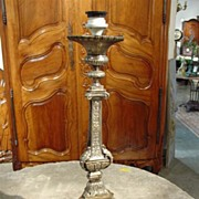 Antique Silvered Bronze Candlestick (French Electrification)