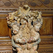 Antique Polychromed Architectural with Cherubs