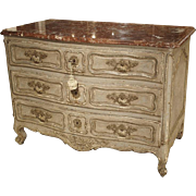Antique Louis XV Style Painted French Chest of Drawers with Marble Top