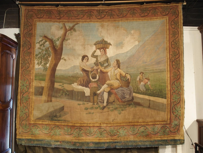 "Large Antique Spanish Vineyard Painting on Canvas, ""La Vendimia"""