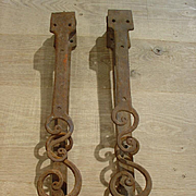 Pair of Antique Forged Iron Shutter Hinges from France