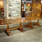 Massive Italian Elmwood Dining Table-Mid 1900's