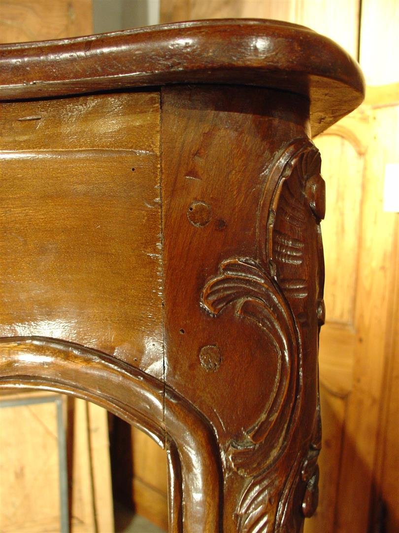 Antique French Walnut Wood Louis Xv Style Fireplace Mantel