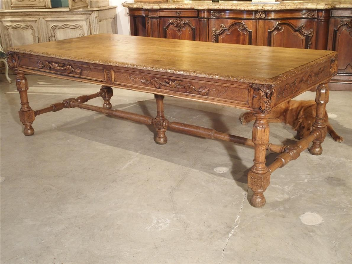 Circa 1800 French Oak Table with Wine Grape Motifs