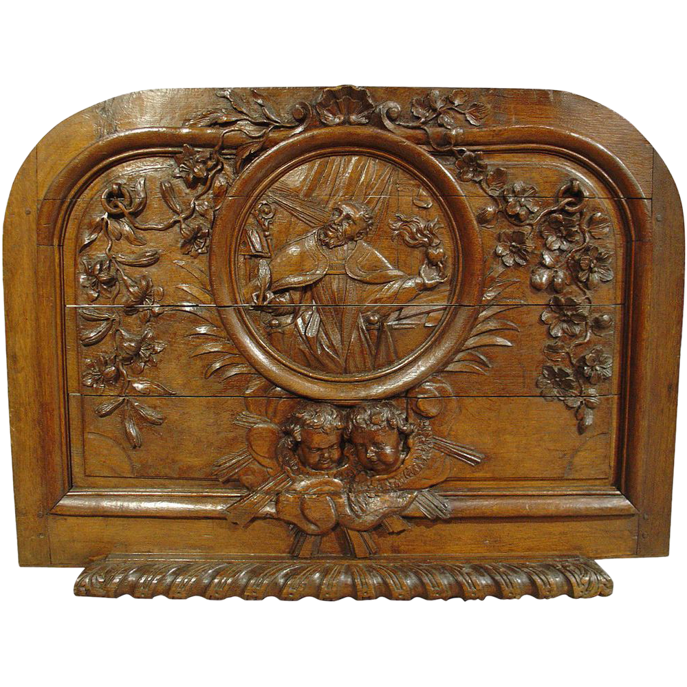 18th Century French Hand Carved Oak Relief Panel Of St