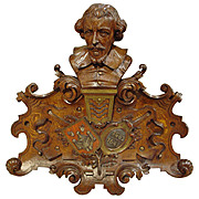 Antique Oak Carving of 17th Century Antwerp Artist David Teniers LeVieux