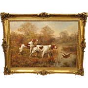 Antique Hunting Dog Painting by Maurice Etienne Dantan