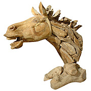 Driftwood Horse Head Sculpture from France