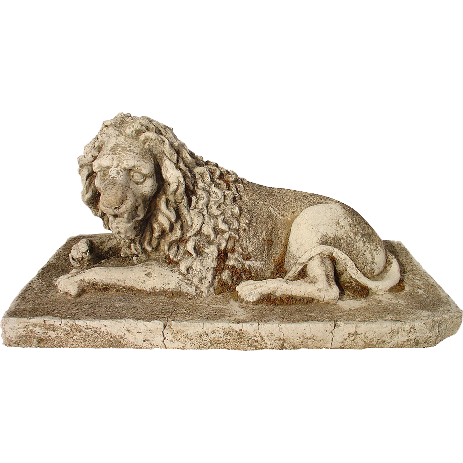 Antique Stone Lion Statue from France, Circa 1860