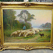 Signed Antique Sheep Painting by Derians