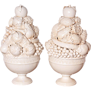 Pair of Tall Italian Creamware Pedestal Bowls of Fruit