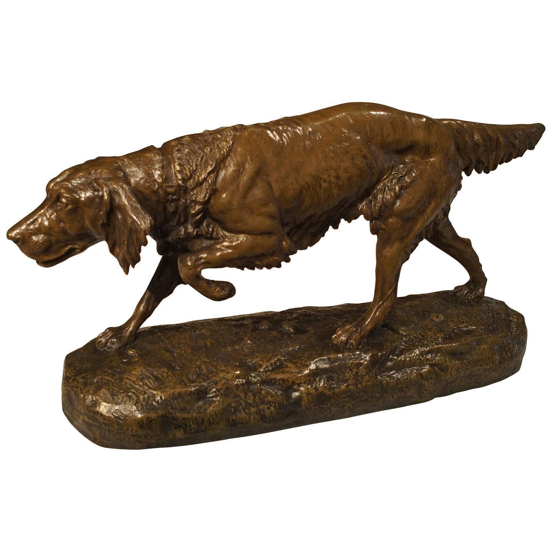 Large Antique Bronze Hunting Dog Statue, C. Masson