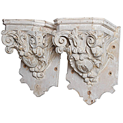 Pair of Large Painted 18th Century French Brackets