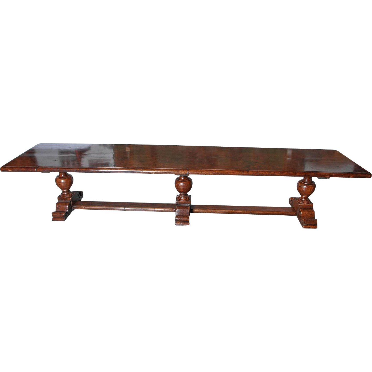 Very Long Walnut Wood Dining Table from Italy