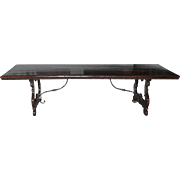 Italian Walnut Wood Table with Iron Stretchers
