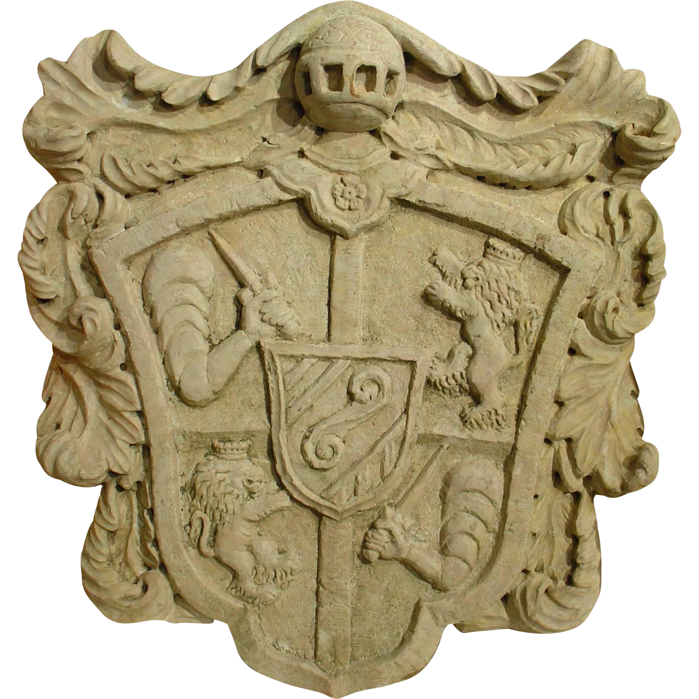 Large Italian Hand-Carved Marble Coat of Arms