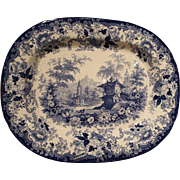 19th Century English Blue and White Platter after Minton's Genevese Pattern
