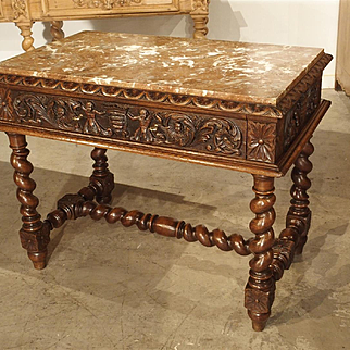 19th Century Marble Top Oak Center Table from France