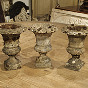 Set of Three Small Reconstituted Stone Urns from France, Circa 1900