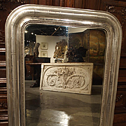 Antique Silverleaf Louis Philippe Mirror, France Late 1800s