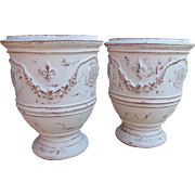 Pair of White Painted and Distressed Anduze Pots, France