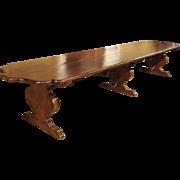 Florentine Renaissance Style Walnut Wood Monastery Table