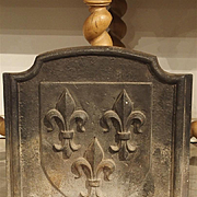 Antique Fleur De Lys Cast Iron Fireback, France C. 1910