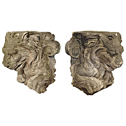 Magnificent Pair of Antique Stone French Lion Architecturals