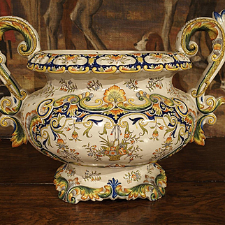 Antique French Cachepot, Desvres Late 19th Century