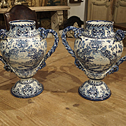 Pair of Antique Blue and White Vases, Early 1900s