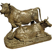Antique French Bronze of a Bull and Cow, Christophe Fratin, Early to Mid 1800s