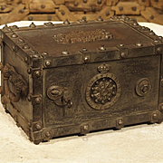 """Antique Bauche """"Incombustible"""" Cast Iron Safe from Northeastern France, 1865"""