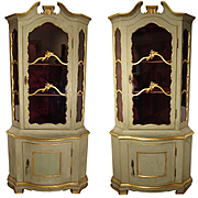 A Pair of Painted and Gilt Corner Cabinets from Italy, Circa 1870