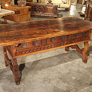 17th Century Catalan Walnut Wood Desk