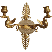 19th Century Empire Style Crystal and Bronze Swan Sconce from France