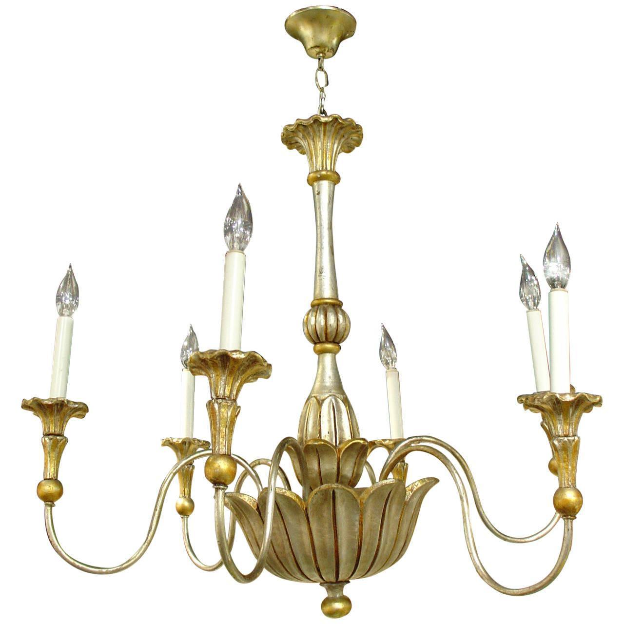 Elegant Six Arm Gold and Silver Gilded Chandelier from France, 20th Century