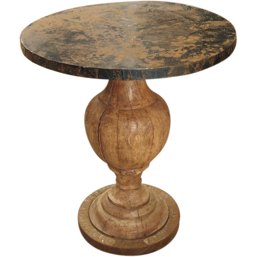 Small 20th century european side table with iron wrapped for Th 37px60b table top stand