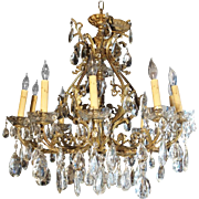 Antique Louis XV Style French Bronze and Crystal Chandelier