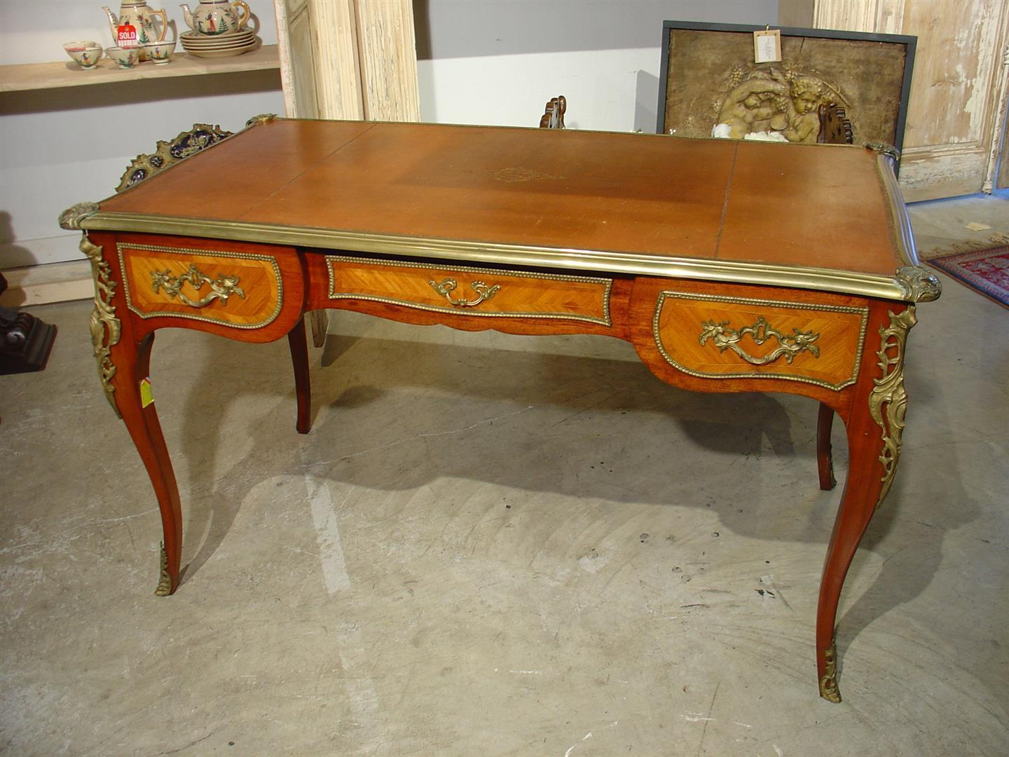 Antique louis xv style bureau plat from lelouvrefrenchantiques on ruby lane - Bureau style vintage ...