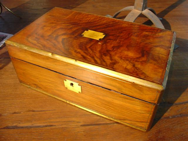 Antique Rosewood and Brass Mounted Lap Desk