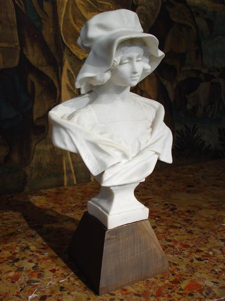 French Marble Bust of a Young Woman