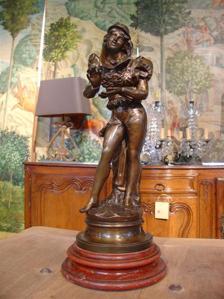 Signed French Bronze Statue on Marble Base